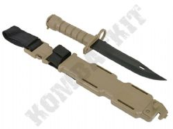 M9 Rubber Training Knife Desert Tan Airsoft Bayonet with hard case USA military replica